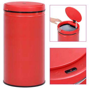 vidaXL Automatska kanta sa senzorom 60 L ugljični čelik crvena