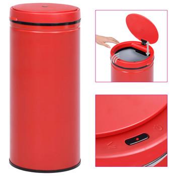 vidaXL Automatska kanta sa senzorom 80 L ugljični čelik crvena