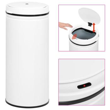 vidaXL Automatska kanta sa senzorom 80 L ugljični čelik bijela