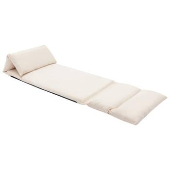 vidaXL Sklopiva podna stolica od mikrovlakana krem