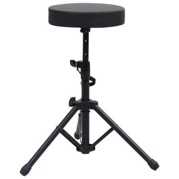 vidaXL Podesivi stolac za bubnjeve crni okrugli