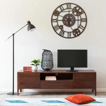 vidaXL Zidni sat smeđi 80 cm metalni