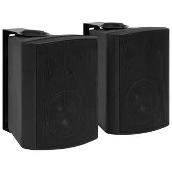 vidaXL Zidni stereo zvučnici 2 kom crni unutarnji/vanjski 100 W