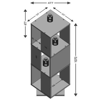 FMD rotirajući otvoreni ormarić za spise 34 x 34 x 107 cm boja hrasta