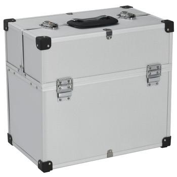 vidaXL Kovčeg za alat 43,5 x 22,5 x 34 cm srebrni aluminijski