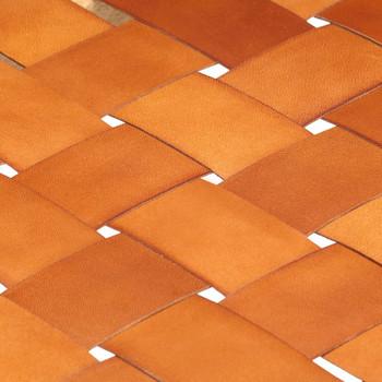vidaXL Klupa od prave kože i masivnog drva manga 110 cm smeđa