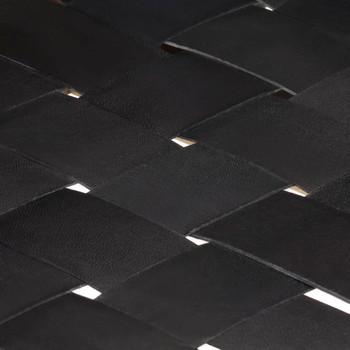 vidaXL Klupa od prave kože i masivnog drva manga 110 cm crna
