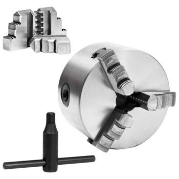 vidaXL Stezna glava za tokarski stroj s 3 čeljusti 100 mm čelična