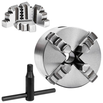 vidaXL Stezna glava za tokarski stroj s 4 čeljusti 80 mm čelična