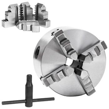 vidaXL Stezna glava za tokarski stroj s 4 čeljusti 125 mm čelična