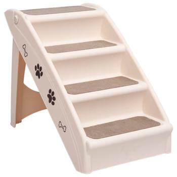 vidaXL Sklopive stepenice za pse krem 62 x 40 x 49,5 cm