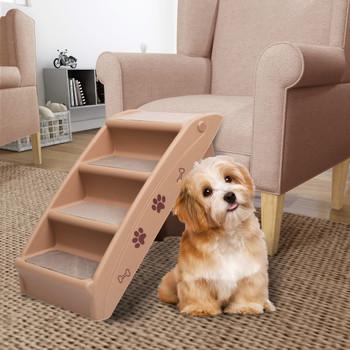 vidaXL Sklopive stepenice za pse smeđe 62 x 40 x 49,5 cm
