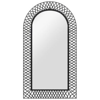 vidaXL Zidno ogledalo s lukom 60 x 110 cm crno
