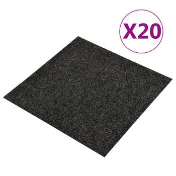 vidaXL Podne pločice s tepihom 20 kom 5 m² crne