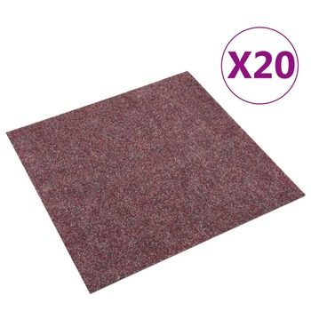 vidaXL Podne pločice s tepihom 20 kom 5 m² tamnocrvene