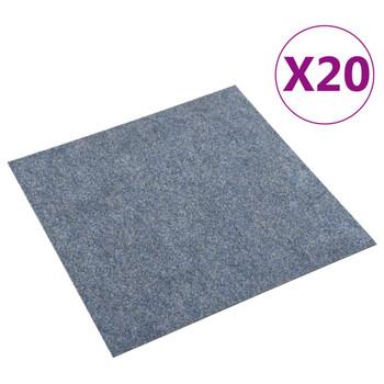 vidaXL Podne pločice s tepihom 20 kom 5 m² plave