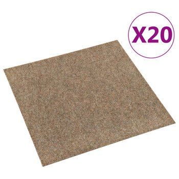vidaXL Podne pločice s tepihom 20 kom 5 m² bež