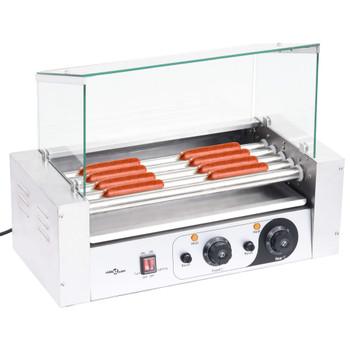 vidaXL Aparat za hot dog s 5 valjaka i staklenim poklopcem 1000 W