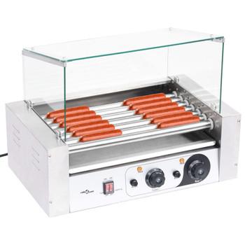 vidaXL Aparat za hot dog sa 7 valjaka i staklenim poklopcem 1400 W