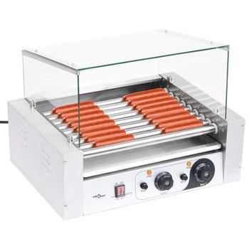 vidaXL Aparat za hot dog s 9 valjaka i staklenim poklopcem 1800 W
