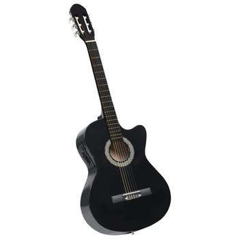 vidaXL Akustična gitara Western s ujednačivačem i 6 žica crna