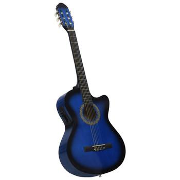 vidaXL Akustična gitara Western s ujednačivačem i 6 žica plava
