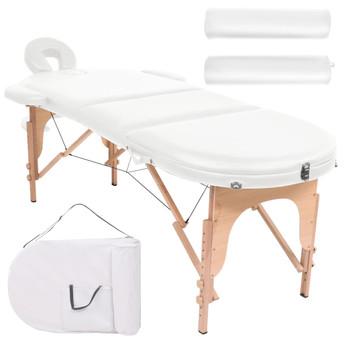 vidaXL Sklopivi masažni stol debljine 4 cm s 2 jastučića ovalni bijeli