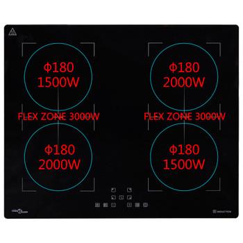 vidaXL Ugradbena indukcijska ploča za kuhanje Flexizone 3000 W 60 cm