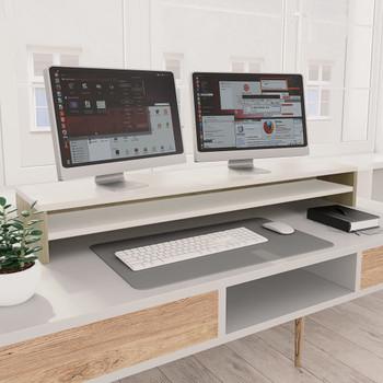 vidaXL Stalak za monitor bijeli i boja hrasta 100 x 24 x 13 cm iverica