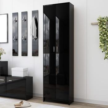 vidaXL Ormar za hodnik visoki sjaj crni 55 x 25 x 189 cm od iverice