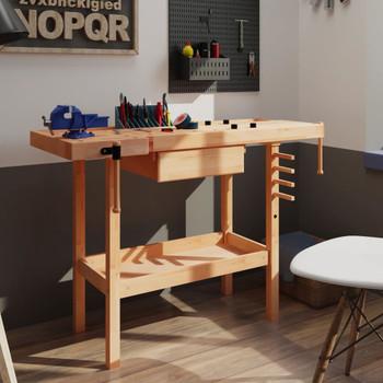 vidaXL Radni stolarski stol s ladicom i 2 stege od tvrdog drva