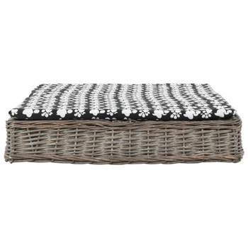 vidaXL Krevet za pse s jastukom sivi 125 x 80 x 15 cm od prirodne vrbe