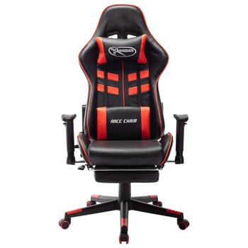 vidaXL Igraća stolica od umjetne kože s osloncem za noge crno-crvena