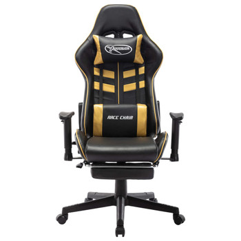 vidaXL Igraća stolica od umjetne kože s osloncem za noge crno-zlatna