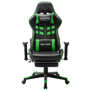 vidaXL Igraća stolica od umjetne kože s osloncem za noge crno-zelena