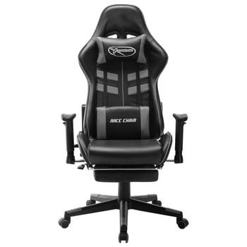 vidaXL Igraća stolica od umjetne kože s osloncem za noge crno-siva