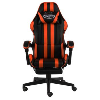 vidaXL Igraća stolica s osloncem za noge crno-narančasta umjetna koža