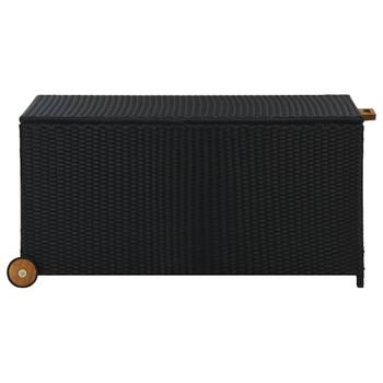 vidaXL Vrtna kutija za pohranu crna 130 x 65 x 115 cm od poliratana