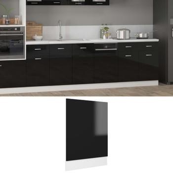 vidaXL Ploča za perilicu posuđa sjajna crna 45 x 3 x 67 cm od iverice
