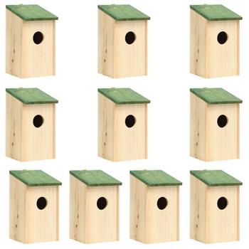 vidaXL Kućice za ptice 10 kom od masivne jelovine 12 x 12 x 22 cm