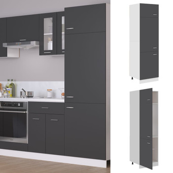 vidaXL Ormarić za hladnjak sivi 60 x 57 x 207 cm od iverice