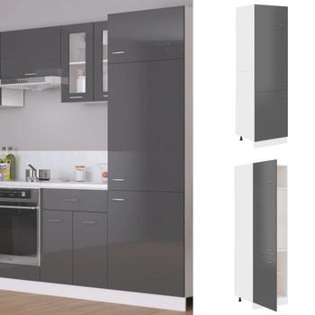 vidaXL Ormarić za hladnjak visoki sjaj sivi 60 x 57 x 207 cm iverica