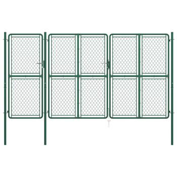 vidaXL Vrtna vrata čelična 200 x 395 cm zelena