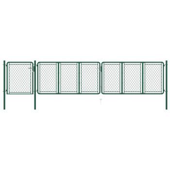 vidaXL Vrtna vrata čelična 75 x 495 cm zelena