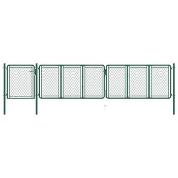 vidaXL Vrtna vrata čelična 100 x 495 cm zelena