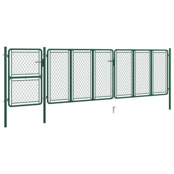 vidaXL Vrtna vrata čelična 125 x 495 cm zelena