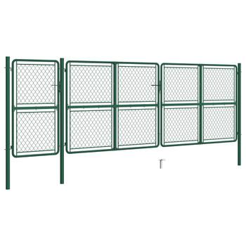 vidaXL Vrtna vrata čelična 150 x 495 cm zelena