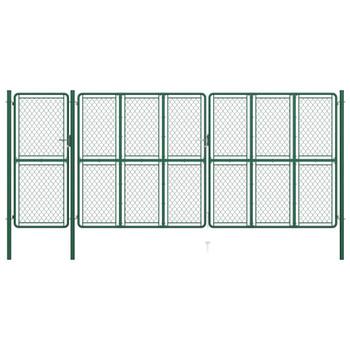 vidaXL Vrtna vrata čelična 175 x 495 cm zelena