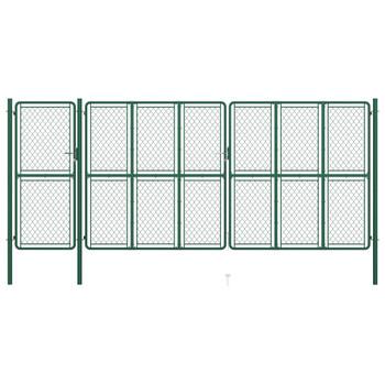 vidaXL Vrtna vrata čelična 200 x 495 cm zelena