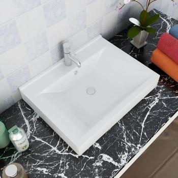 Luksuzni Keramički Pravokutni Umivaonik s Otvorom za Slavinu Bijeli  60 x 46 cm